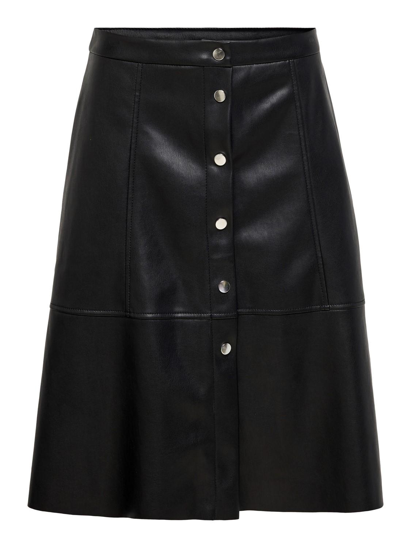 Jacqueline de Young JDYhill button PU skirt, black