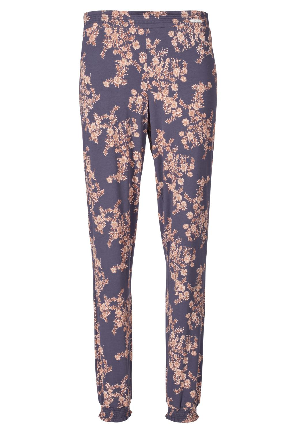 Skiny L. pants long, purpose sleep, purple flower