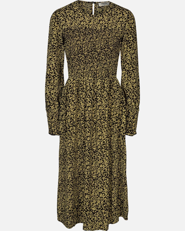 Moss Copenhagen Celina morocco LS smock dress, gul/sort