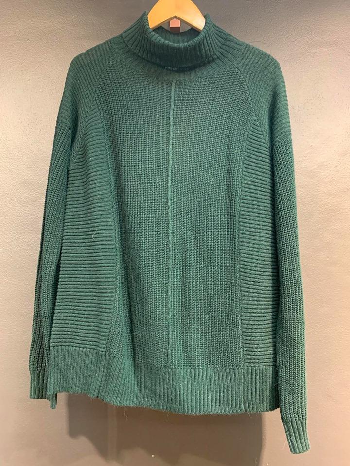 Minus Adda knit patentstrikket mørk grønn genser med høy hals