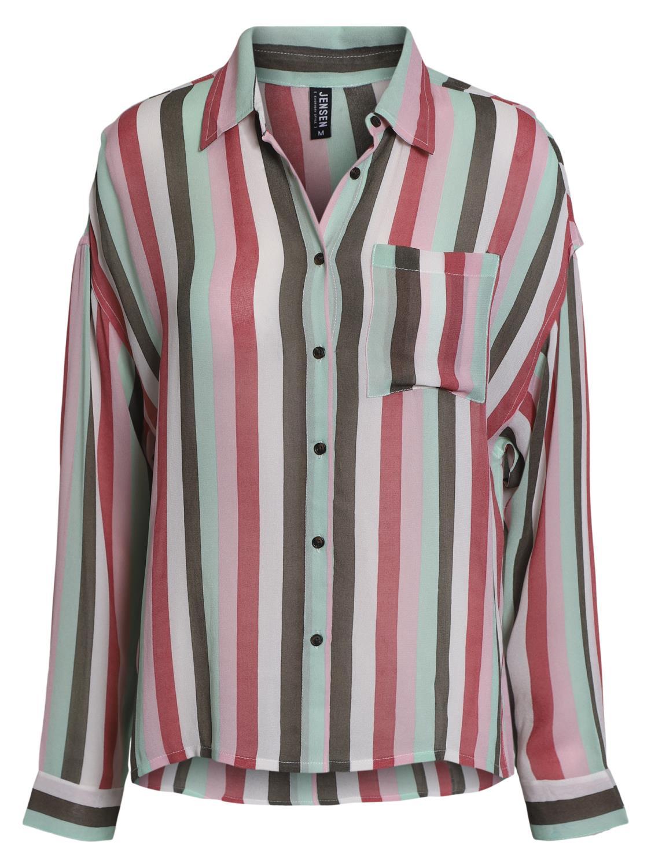 Jensen Stripet viskose skjorte