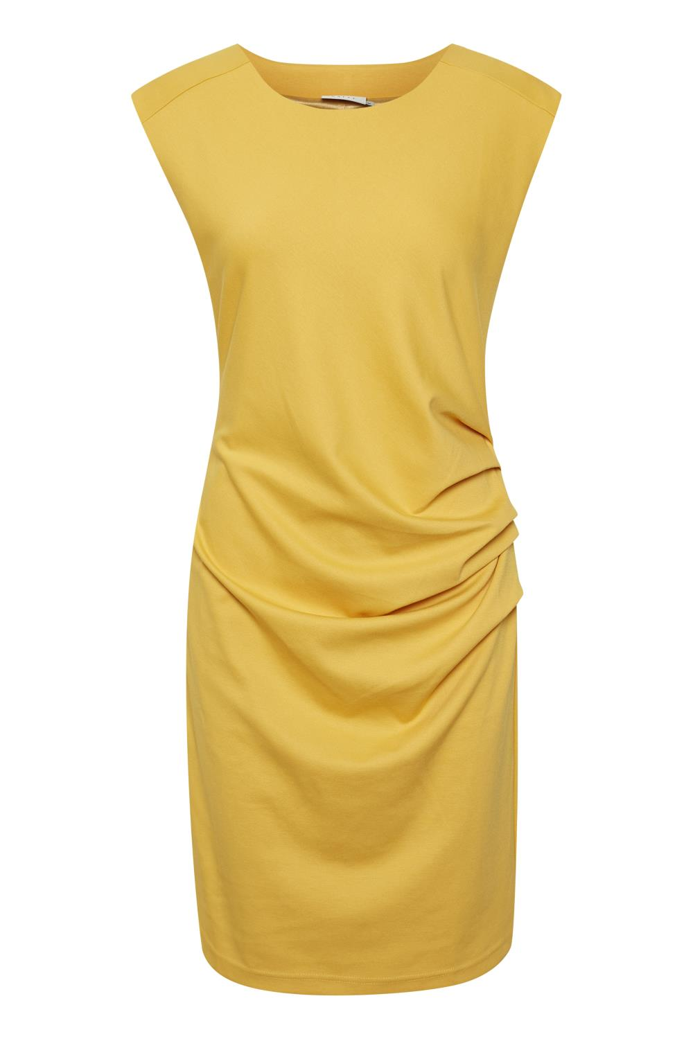 Kaffe India Round-Neck dress, golden rod