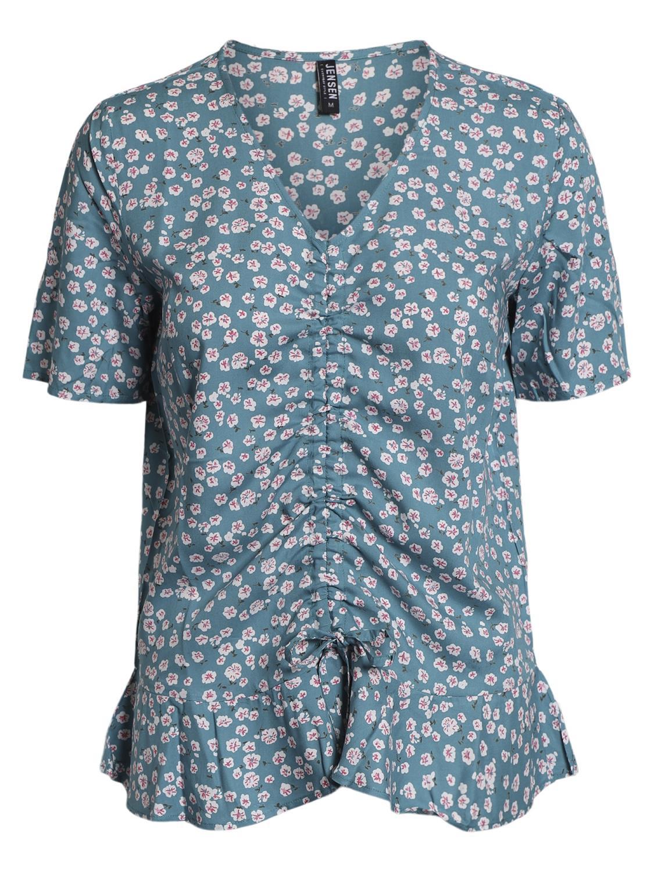 Jensen mønstret bluse m/V-hals