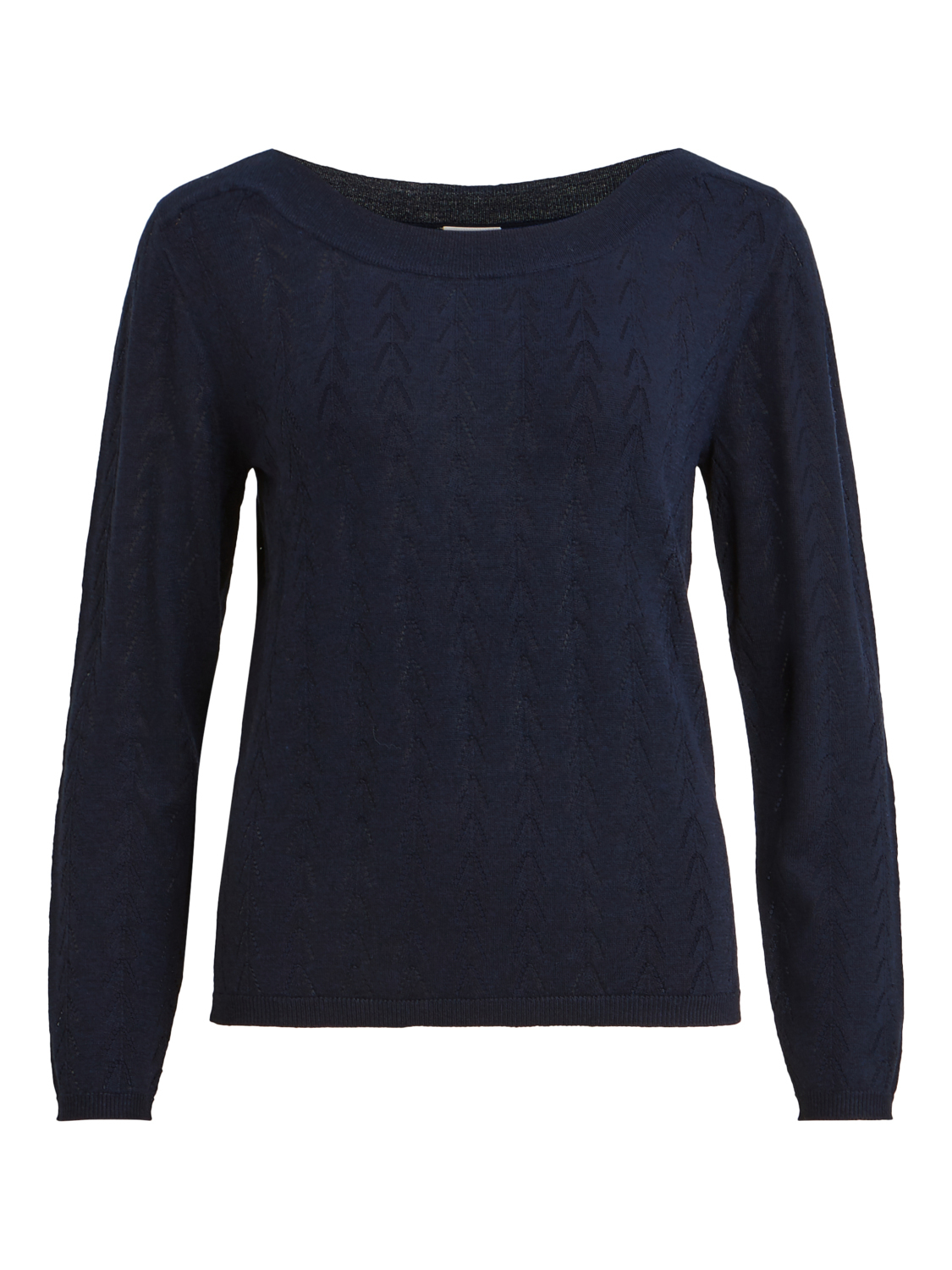 VILA Wendis knit L/S boat neck detail top, navy blazer