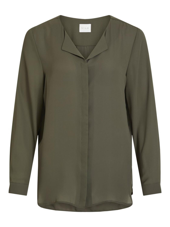 Vila Lucy L/S Shirt, forest night/mosegrønn