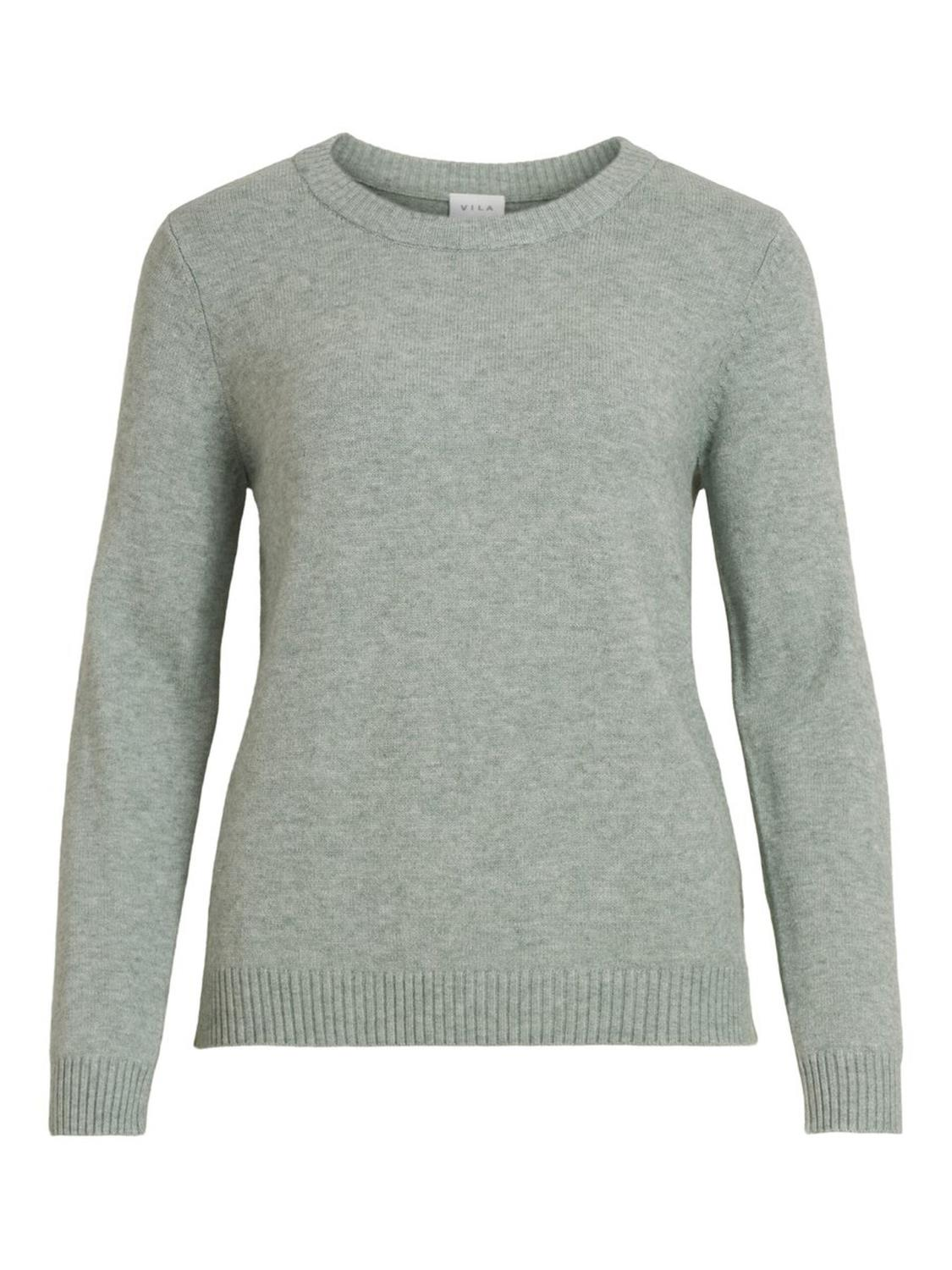 VILA Viril O-neck, knit top, grønn melert