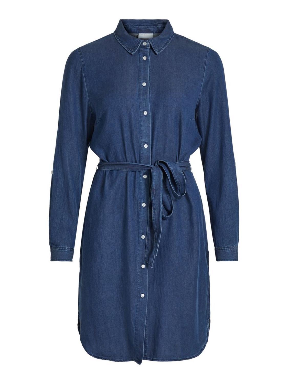 VILA Bista Denim Belt Dress, dark blue denim