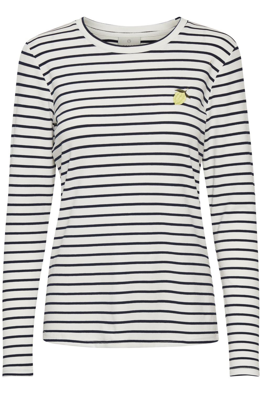 Kaffe Liddy lemon t-shirt LS, chalk/midnight marine
