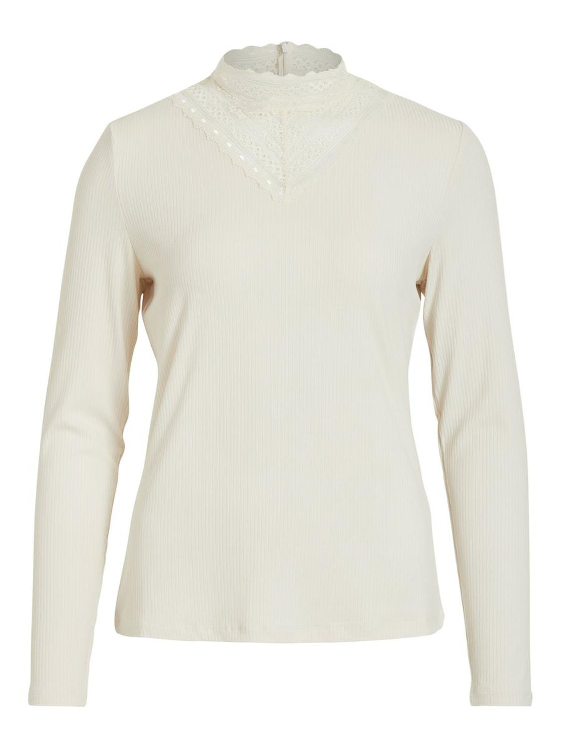 Vila Solitta rib lace top, beige