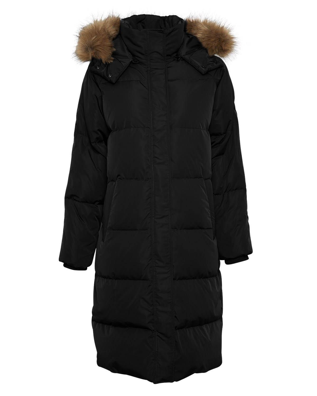 MSCH Skylar down hood faux fur jacket, black