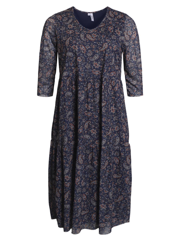 Ciso mønstret kjole, blå/brun