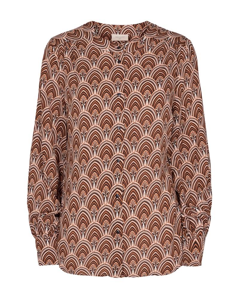 Freequent Sari shirt, caramel cafe mix