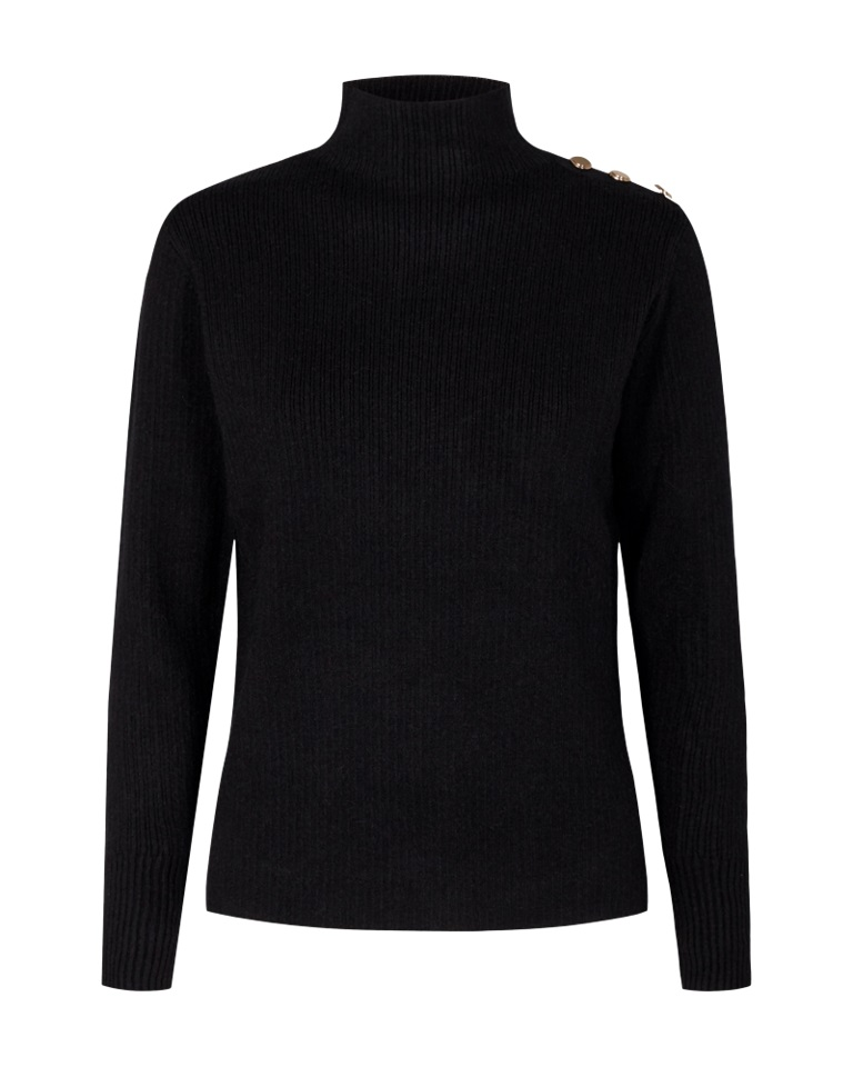 Freequent Caluty pullover high, black solid