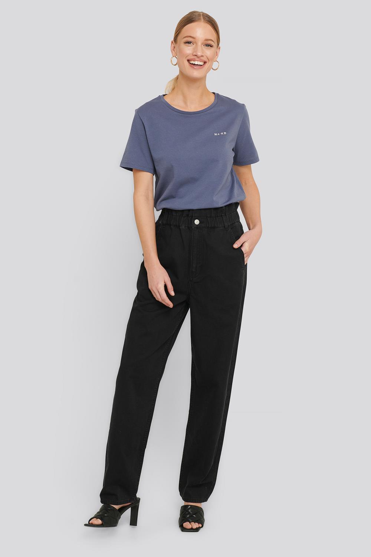 NA-KD Elastic Waist Baggy Jeans, sort