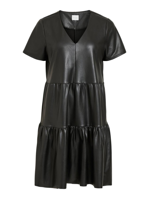 Vila ViNuggi coated S7S dress, black