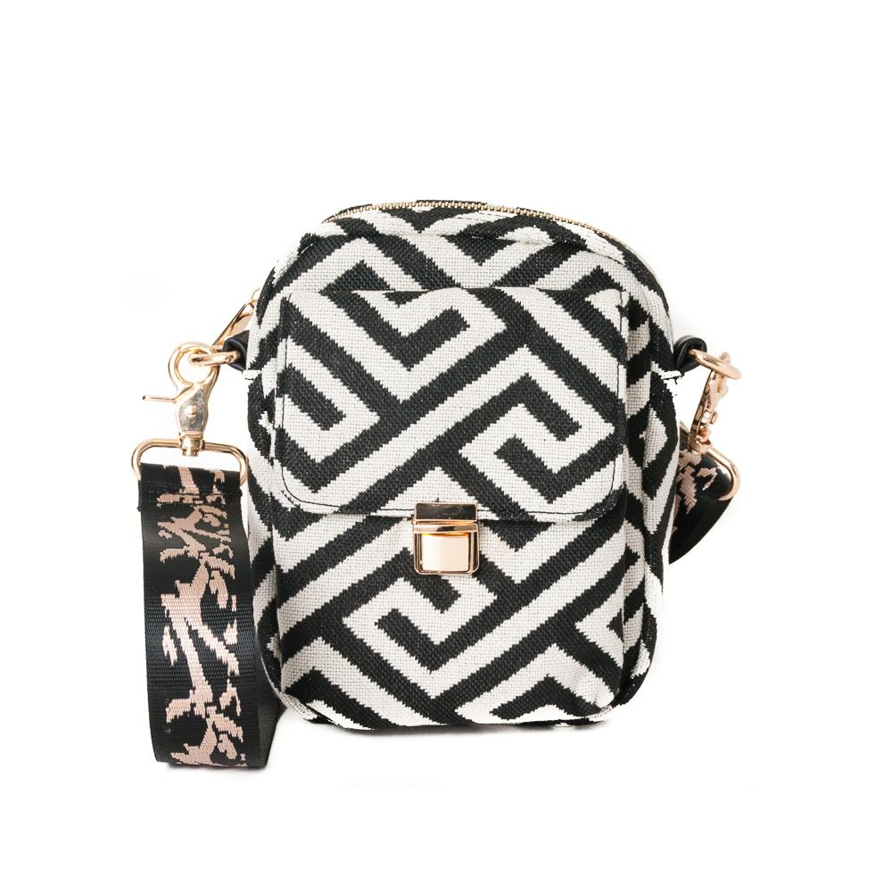 Rosenvinge Ella city pattern bag, black/offwhite