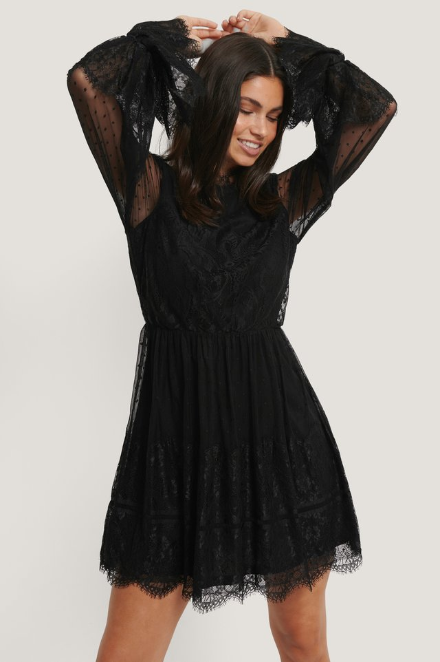 NA-KD Frill Lace Dress, black