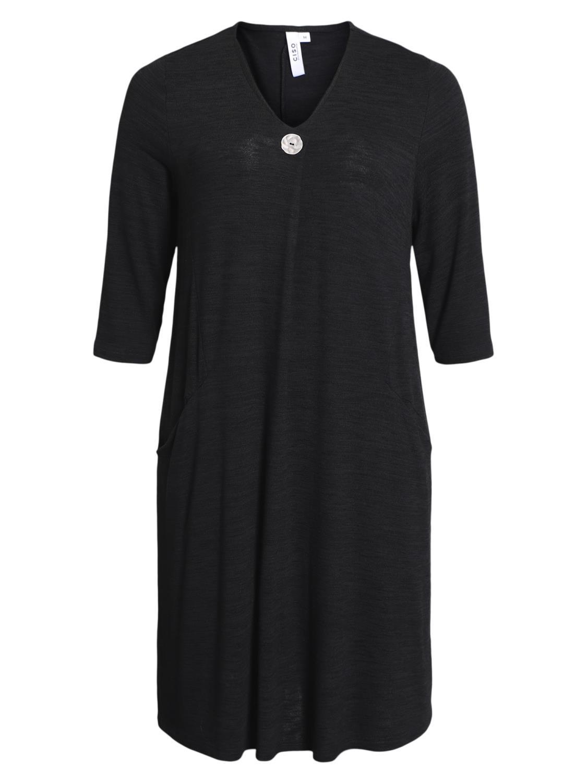 Ciso strikket viskose kjole, med lommer, sort