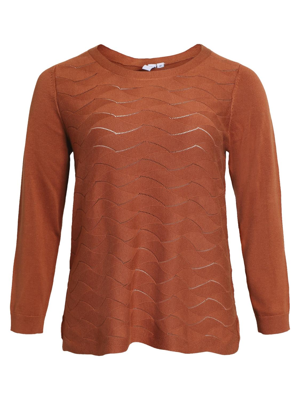 Ciso mønster strikket genser, gylden brun
