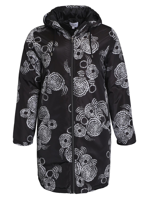 Ciso Printet Parka Coat, sort/hvit mønstret