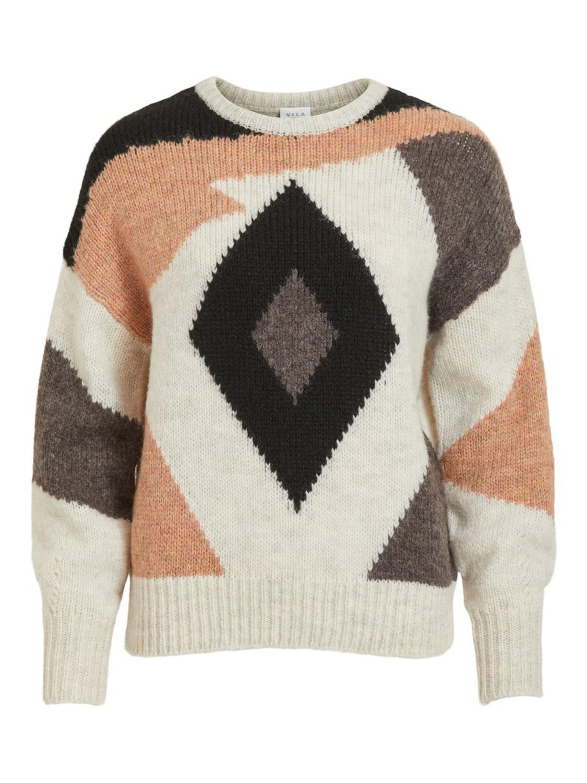 Vila ViErlo knit o-neck L/S top, beige/black