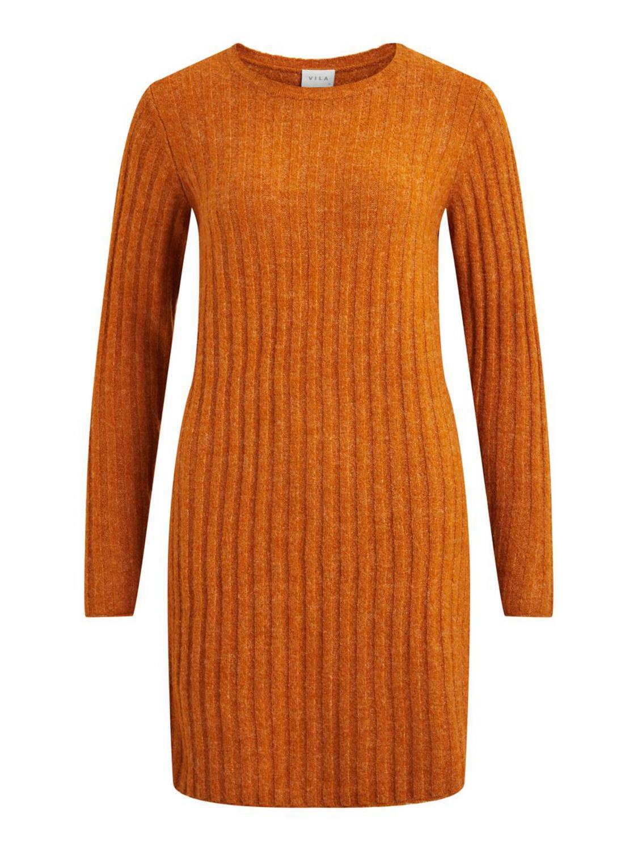 Vila NiNikki knit o-neck L/S dress, pumpkin spice/melange