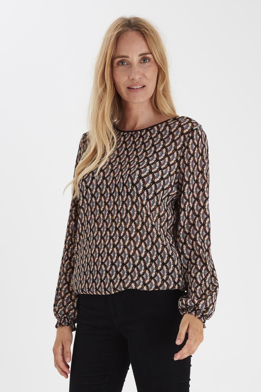Pulz Katarina blouse, black printed