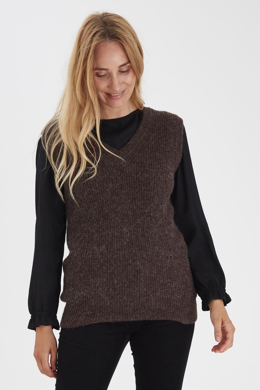 Pulz Zahara pullover vest, chocolate brown melange