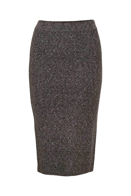 Kaffe Betina Knit Skirt, mørk grå melert