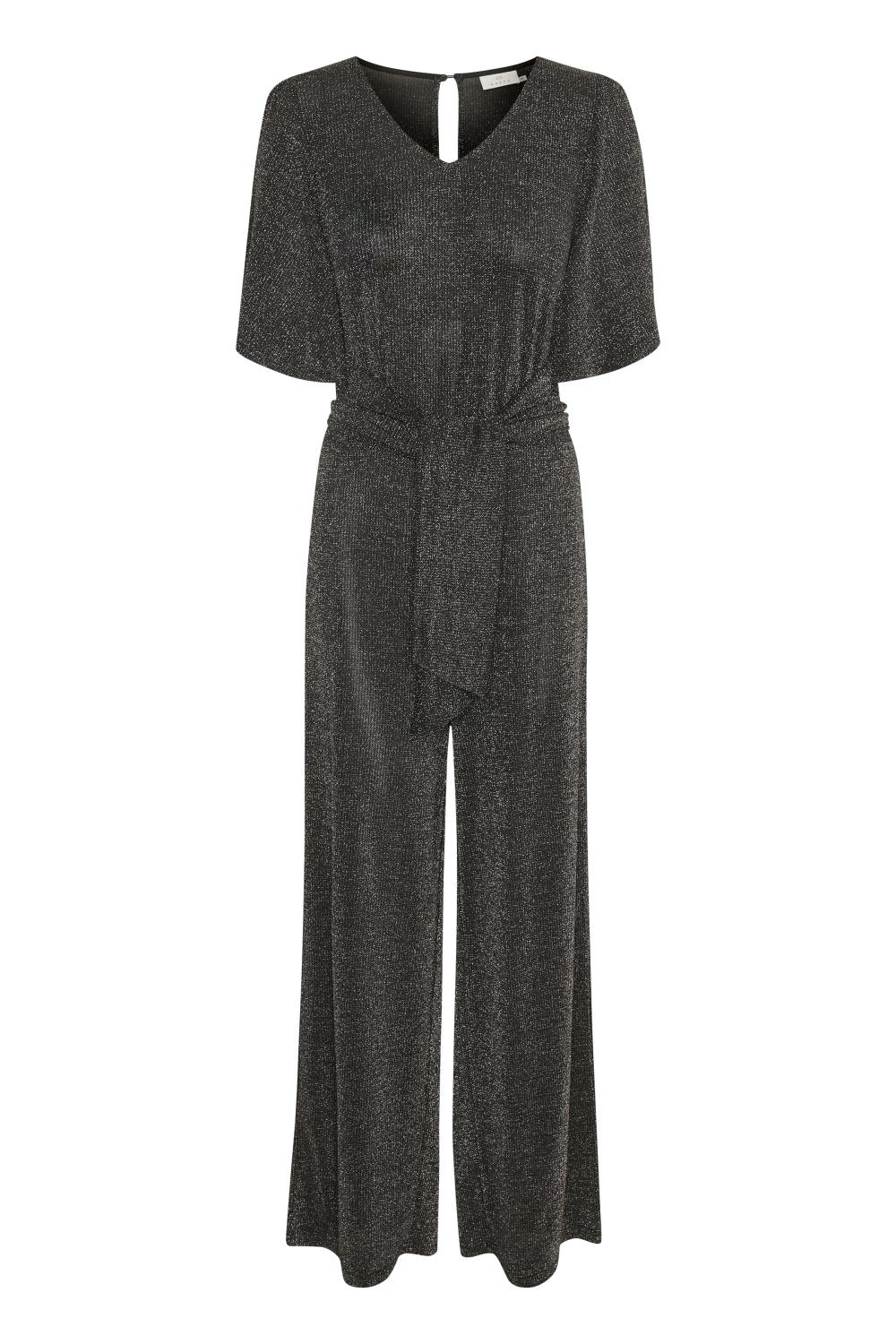 Kaffe Joy Cropped Jumpsuit, black silver lurex