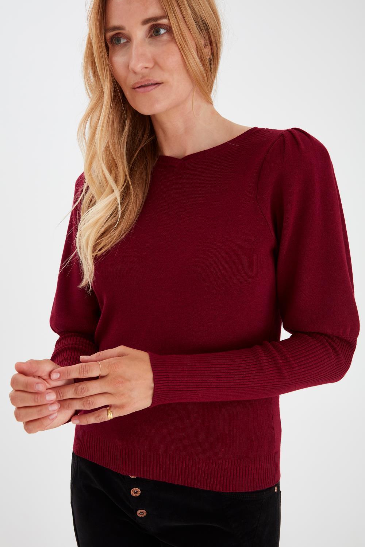 Pulz Sara pullover, dyb burgunder rød