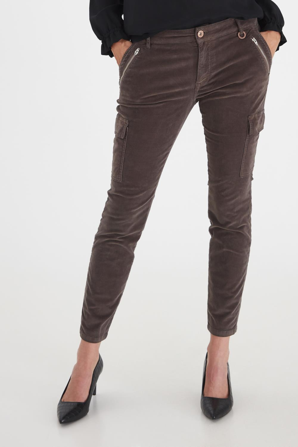 Pulz Elva pants, chocolate brown