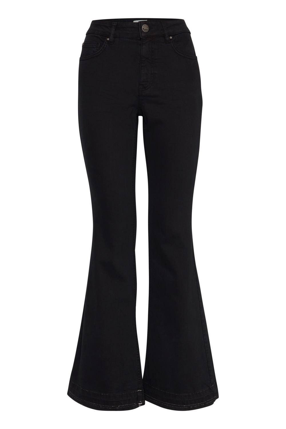 Pulz PxEmma highwaist jeans, flared leg, black beauty