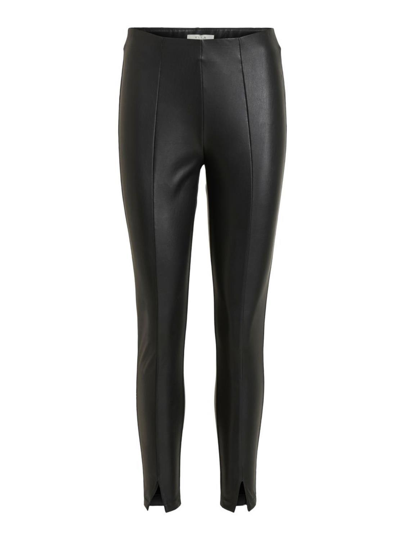 Vila Barb coated 7/8 pants, black