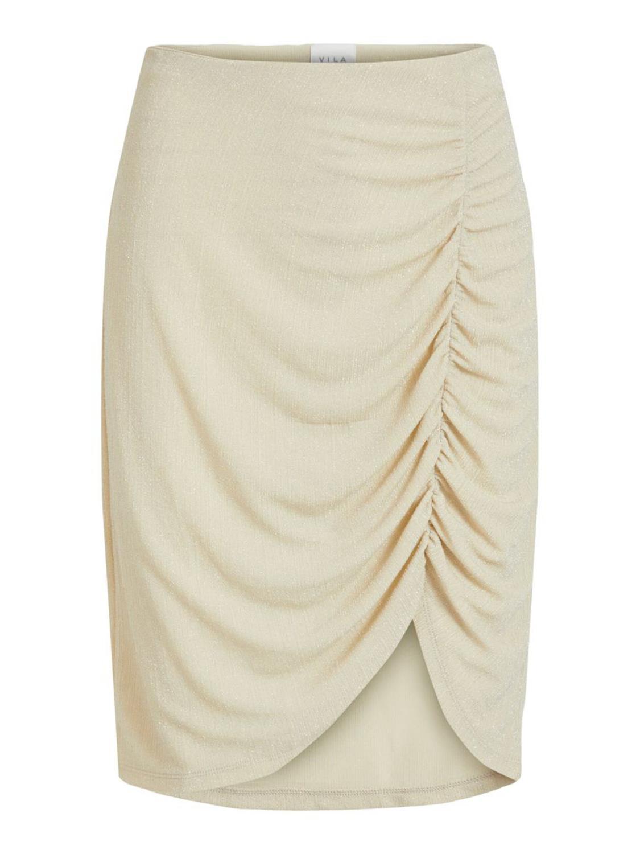 Vila Shinni HW glitter skirt, frosted almond/silver