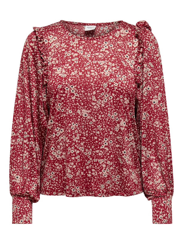 Jacqueline de Young Flora L/S top, rød/flowers