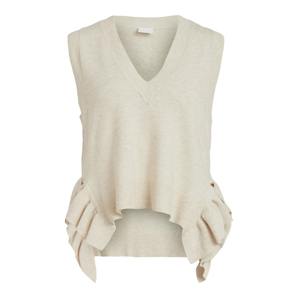 Vila Elasta S/L knit vest, lys beige