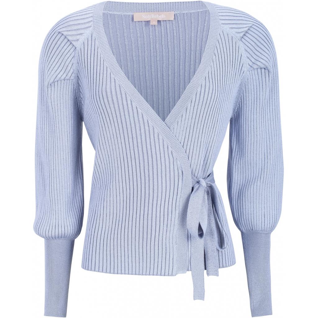 Soft Rebels Mirla Wrap Around Knit, lysblå