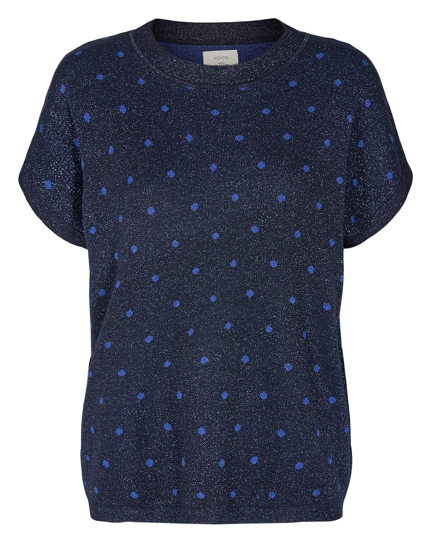 Nümph Darlene strikkevest, marineblå m/glitter
