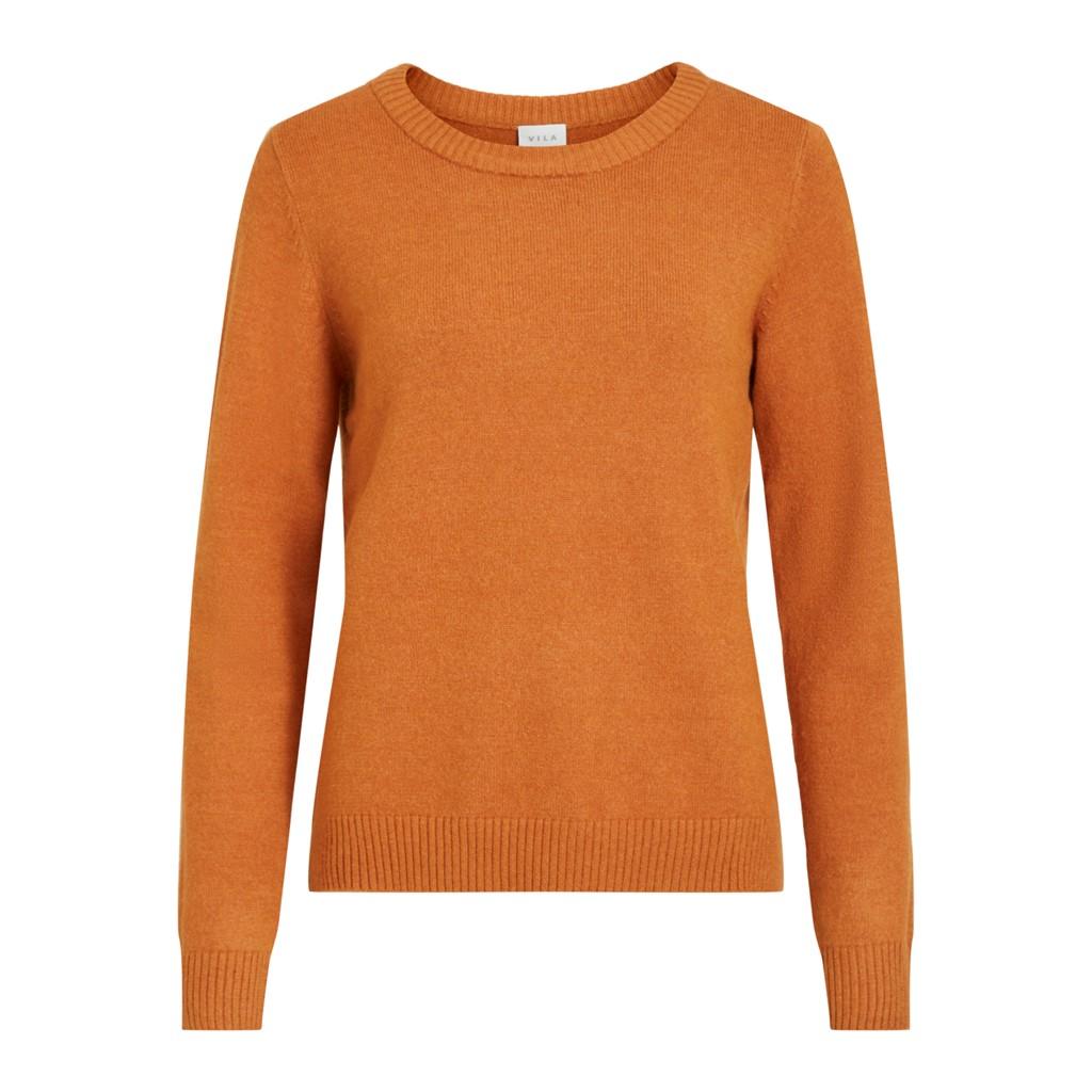 Vila ViRil o-neck L/S knit top, adobe/melange