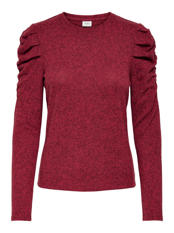 Jacqueline de Young Malibu L/S top, cardina/melange/rød