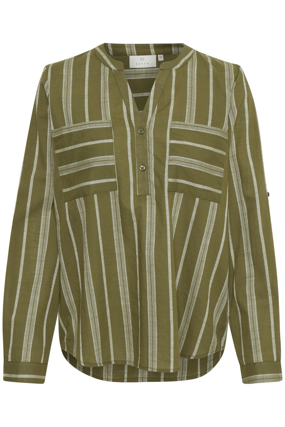 Kaffe Sandy blouse, green/gray yarn dyed stripe