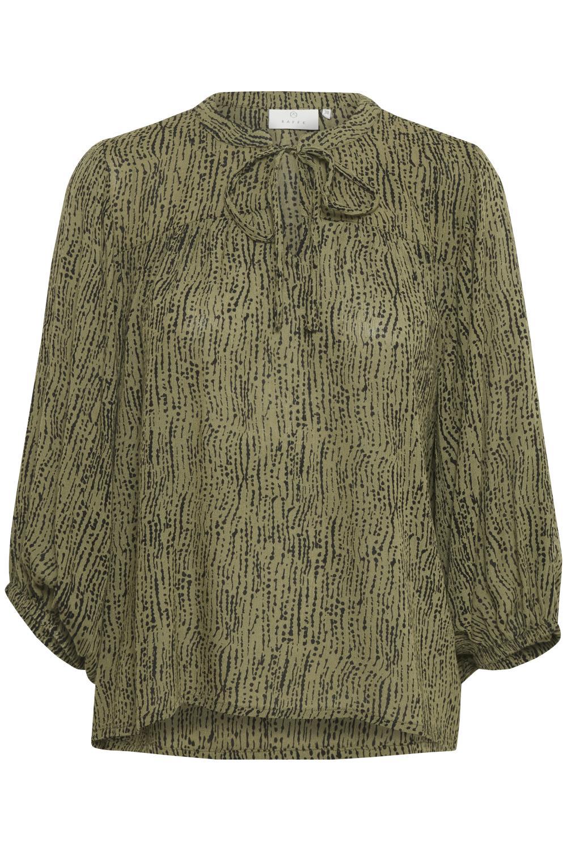 Kaffe Riala Amber blouse, capulet olive/black strok