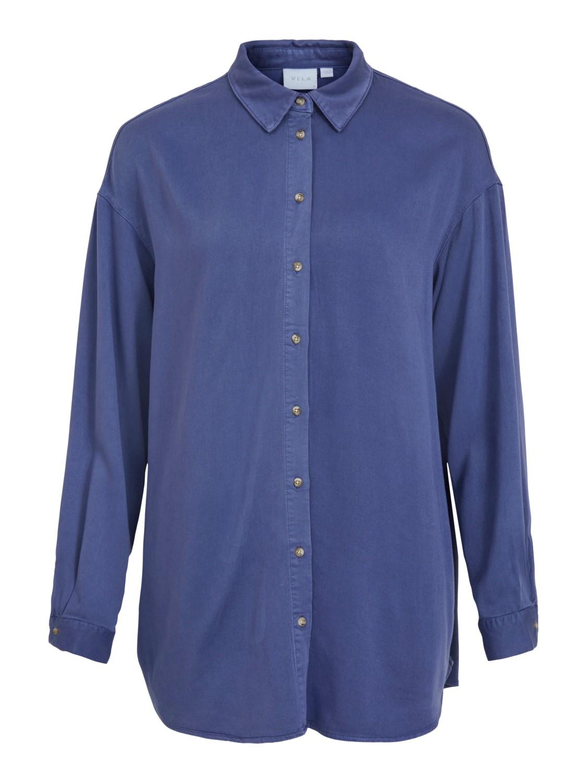 Vila Fanza L/S oversized denim shirt, medim blue denim