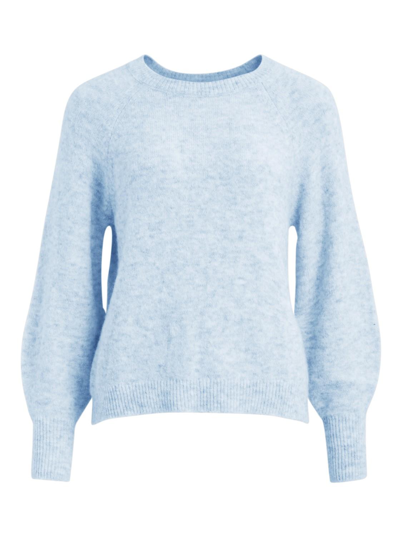 Vila Funkla o-neck L/S knit top, cashmere blue/melange