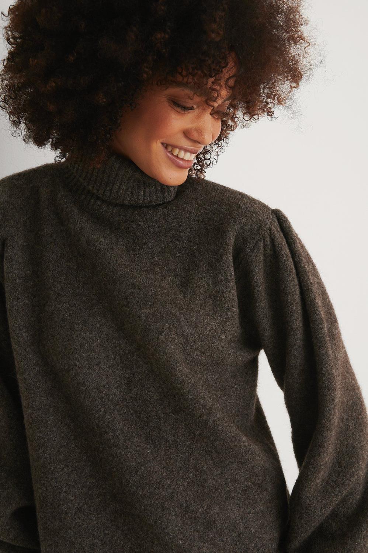 NA-KD Wool Blend Knitted Polo, mørk grå