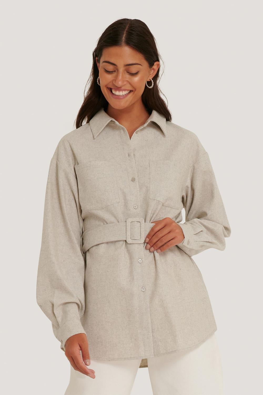 NA-KD Oversized Wool Shirt Jacket, lysgrå
