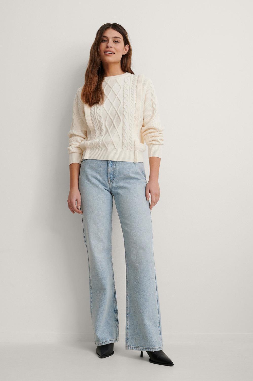 NA-KD Relaxed Full Length Jeans, light blue
