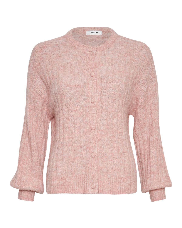 MSCH Deanna alpaca rib cardigan, powder pink melange/rosa