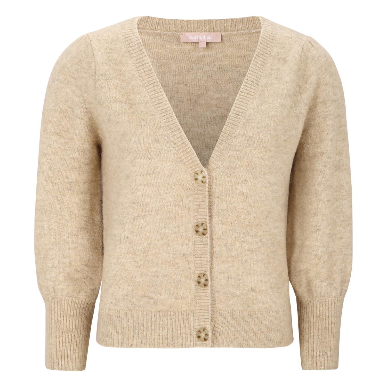 Soft Rebels Liva Cardigan Knit, beige melert
